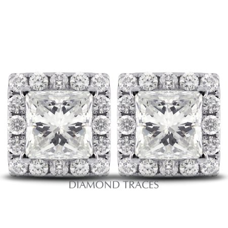 1.68ct D-SI1 Ideal Princess AGI Genuine Diamonds 14k Gold Pave Halo Earrings 8mm