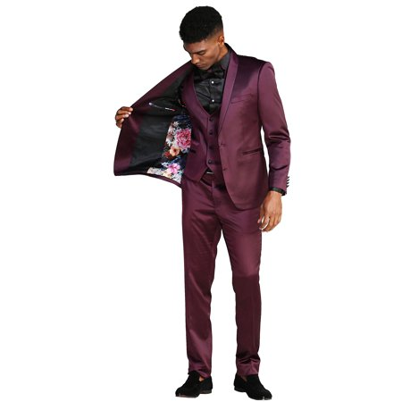 NEW FDSSM288SKA ULTRA SLIM FIT THREE PIECE CLASSY MEN'S SOLID SUIT FORMAL PROM DANCE WEDDING FATHER OF THE GROOM BEST MAN RED