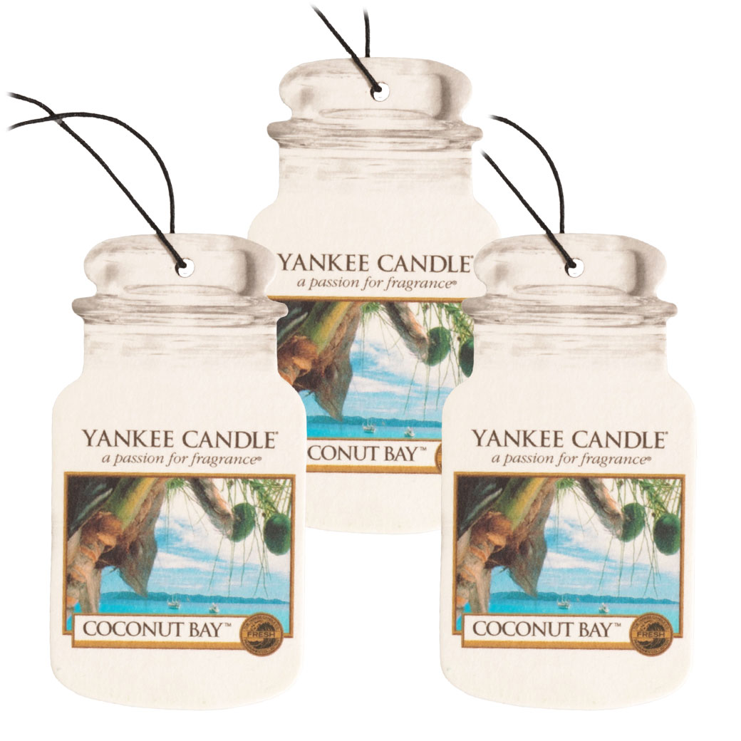 Yankee Candle Classic Paper Car Jar Hanging Air Freshener, Coconut Bay - 3 Pack