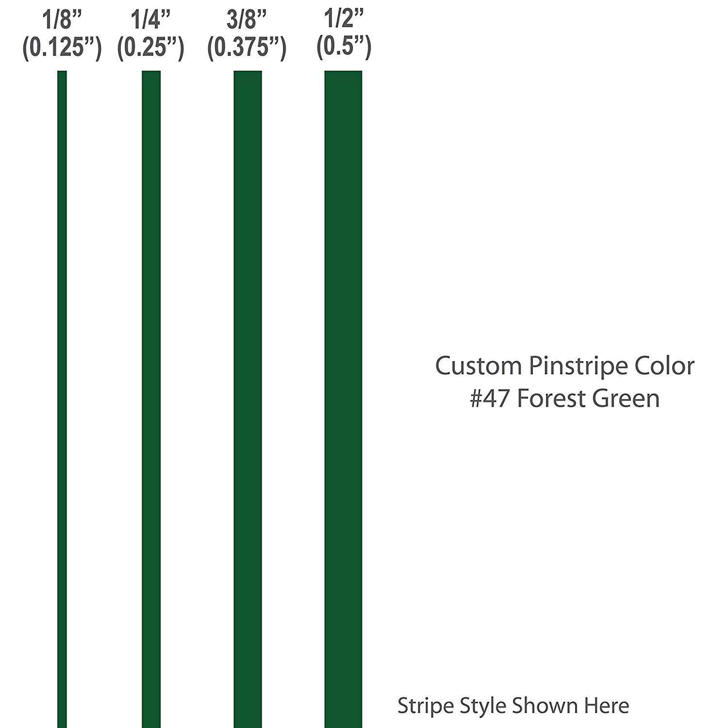 1 8� inch wide Pinstripes.   FOREST GREEN   car truck auto vehicle door boat bike vinyl sticker pin strip... by 1060 Graphics