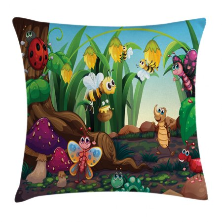 Animal Decor Throw Pillow Cushion Cover, Ladybug Butterfly Bee in Exotic Garden Botany Cute Kids Nursery Themed Cartoon Art, Decorative Square Accent Pillow Case, 18 X 18 Inches, Multi, by Ambesonne