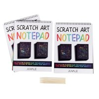 Rainbow Scratch Art Paper Notepad For Kids Or Adults (3 Pack)