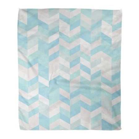 KDAGR Throw Blanket Warm Cozy Print Flannel Blue Aqua Herringbone Pattern Cool Pastel Color Palette Green 70S Comfortable Soft for Bed Sofa and Couch 58x80 Inches