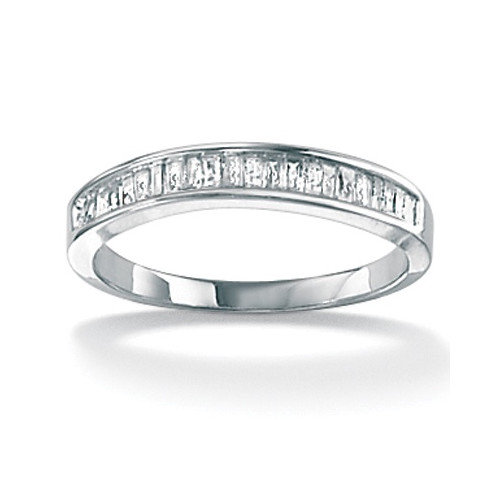 Palm Beach Jewelry 10k Gold Full and Baguette Diamond Anniversary Ring