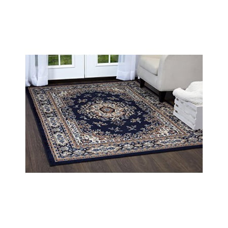 Home Dynamix Premium Sakarya Area Rug By Traditional Persian Inspired Carpet Stylish Medallion Print And Clic Boarder Design Navy Blue Cream