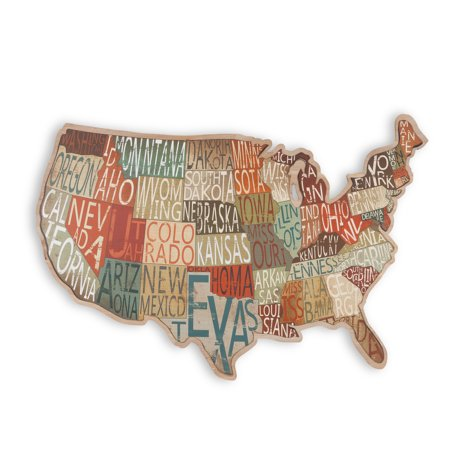 Unique and Attractive Metal and Wood State Map Wall Decoration with Written-to-Fit State - Attractive Wood