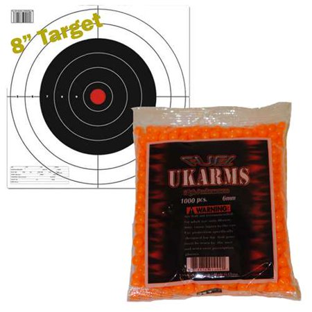 ORANGE 1,000 AIRSOFT BBs Pellets 6mm .12g BB For Pistol Gun Rifle AMMO + Target (Paper Targets For Bb Guns)