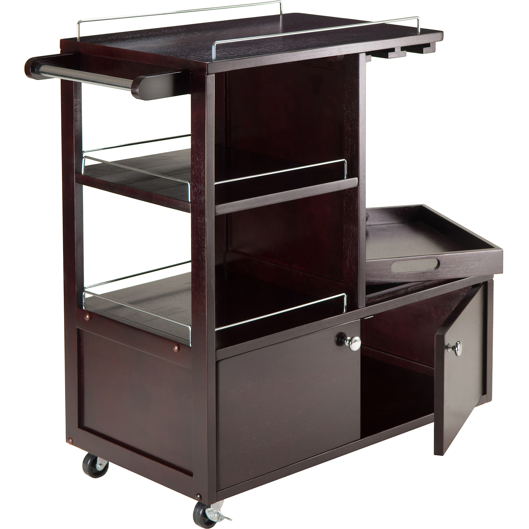 Winsome Wood Galen Entertainment Cart with Serving Tray, Espresso