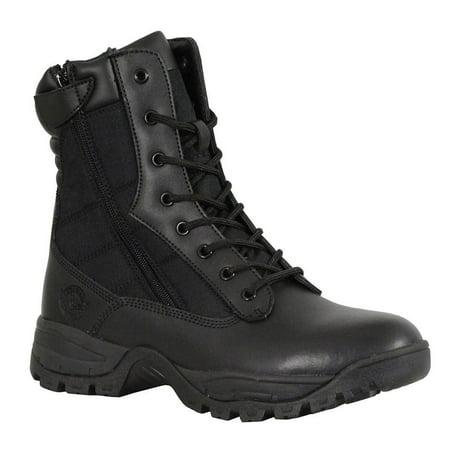 Mens 7 Inch Side Zipper - Milwaukee Leather Milwaukee Leather Mens 9in Black Leather Tactical Boots with Side Zippers - 7 Black 7