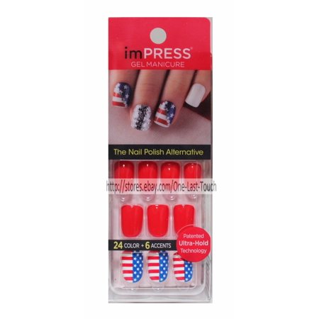 Broadway Impress Press-on Manicure Glow in the Dark Halloween Edition Artificial Nail Kit, Hustle 'N Flow, 24 Nails