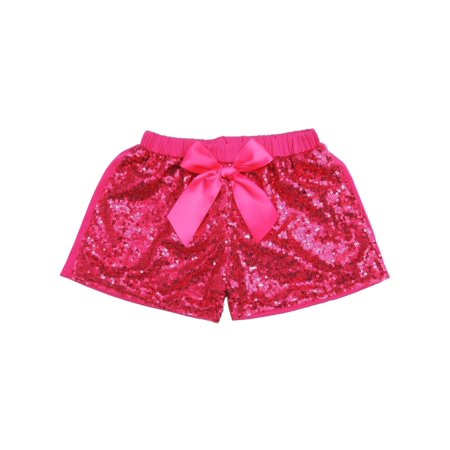 Cheap Sequin Shorts (Wenchoice Girls Hot Pink Stretchy Waist Sequin Bow Adorned)