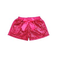 Wenchoice Girls Hot Pink Stretchy Waist Sequin Bow Adorned Shorts