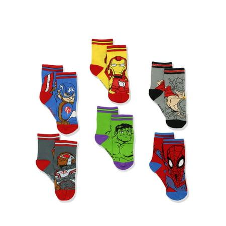 Super Hero Adventures Boys 6 pack Athletic Crew Socks (Baby/Toddler) SHA21B