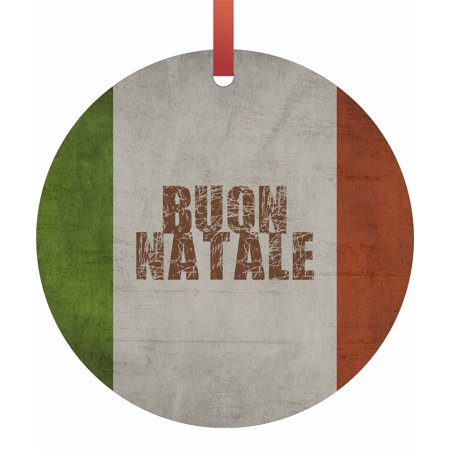 Italy - Italian Flag - Buon Natale Flat Round - Shaped Christmas Holiday Hanging Tree Ornament Disc Made in the U.S.A. ()
