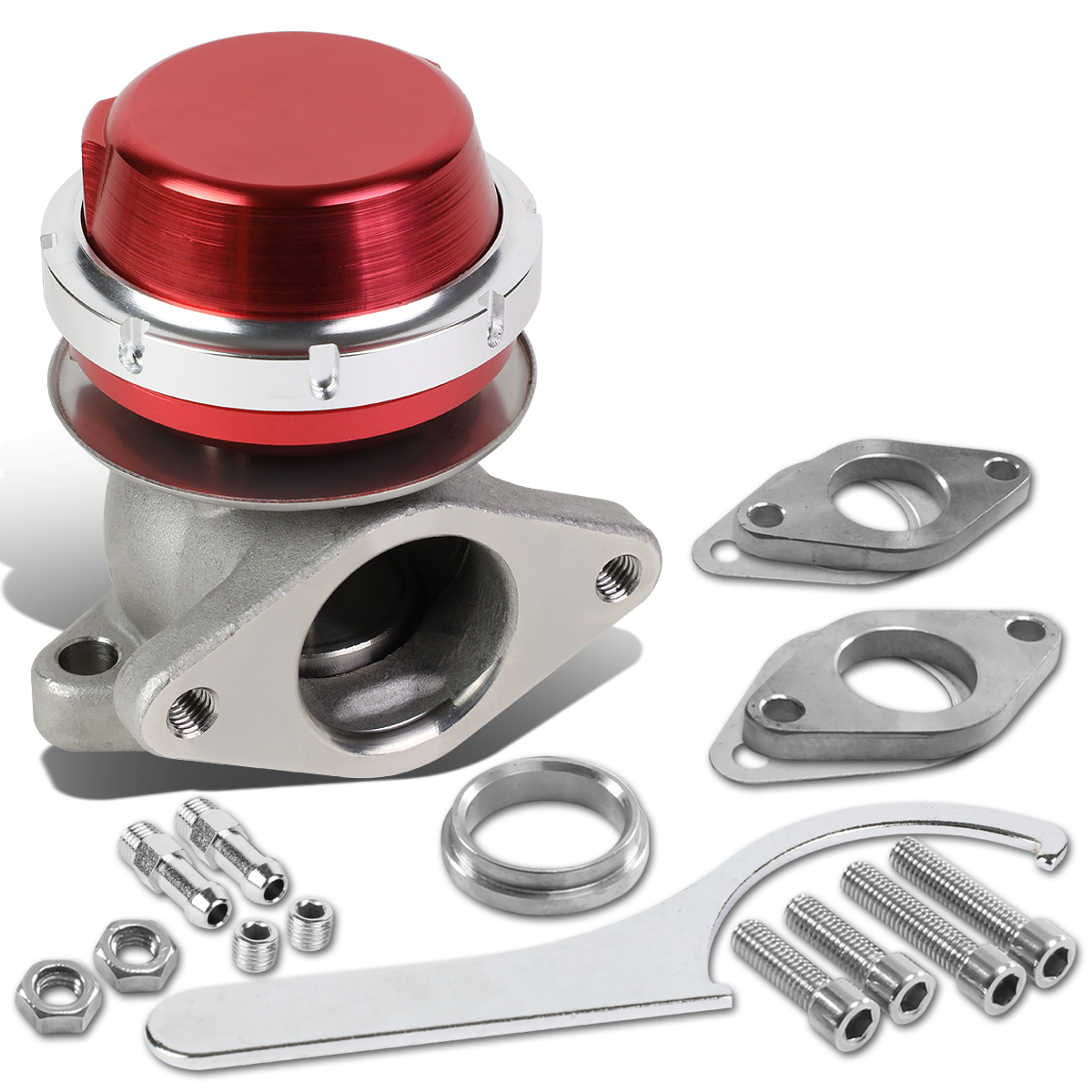 "38mm Bolt-on 14-PSI 3.9"" External Turbo Exhaust Manifold Wastegate (Red)"