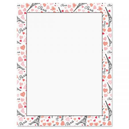 Paris Hearts Letter Papers - Set of 25 Valentine'stationery papers are 8 1/2