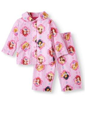 Disney Princess Baby Girl Coat Style Pajamas, 2Pc Set