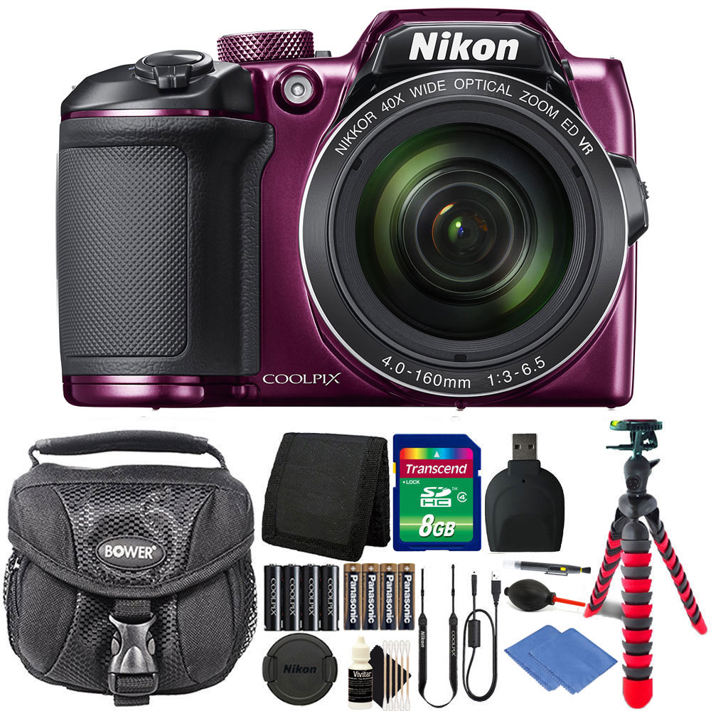 Nikon Coolpix B500 16MP Digital Camera Plum + Extra Batteries + Accessories