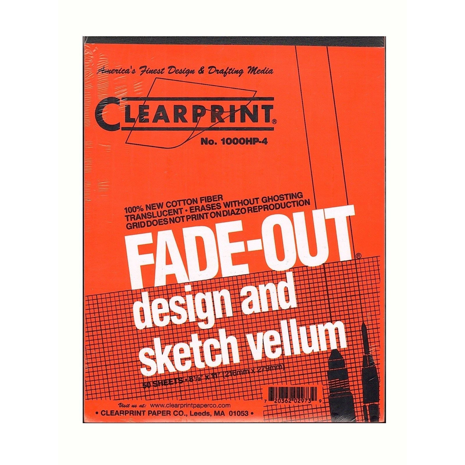 Clearprint Design and Sketch Pad, 8x8 Grid, 8.5in x 11in