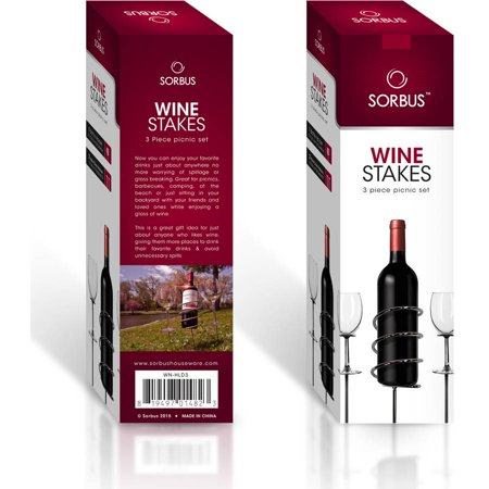 Sorbus Wine Stakes Set, Wine Sticks Holds Bottle and 2 Glasses Preventing Them from Spilling or Breaking, Great for Outdoor Drinking By Picnic, Camping or Party ()