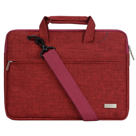 Polyester Laptop Shoulder Bag for 15-15.6 Inch 2017/2016 MacBook Pro with Touch Bar A1707, MacBook Pro, Notebook, Compatible with 14 Inch Ultrabook with Back Belt for Trolly Case, Wine