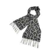 Charter Club Women's Luxury Leopard Cashmere Fringe Scarf