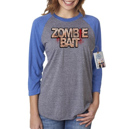 Walking Dead Zombie Bait TV Show Womens 3/4 Raglan Sleeve Shirt Top - Zombie Outfits Womens