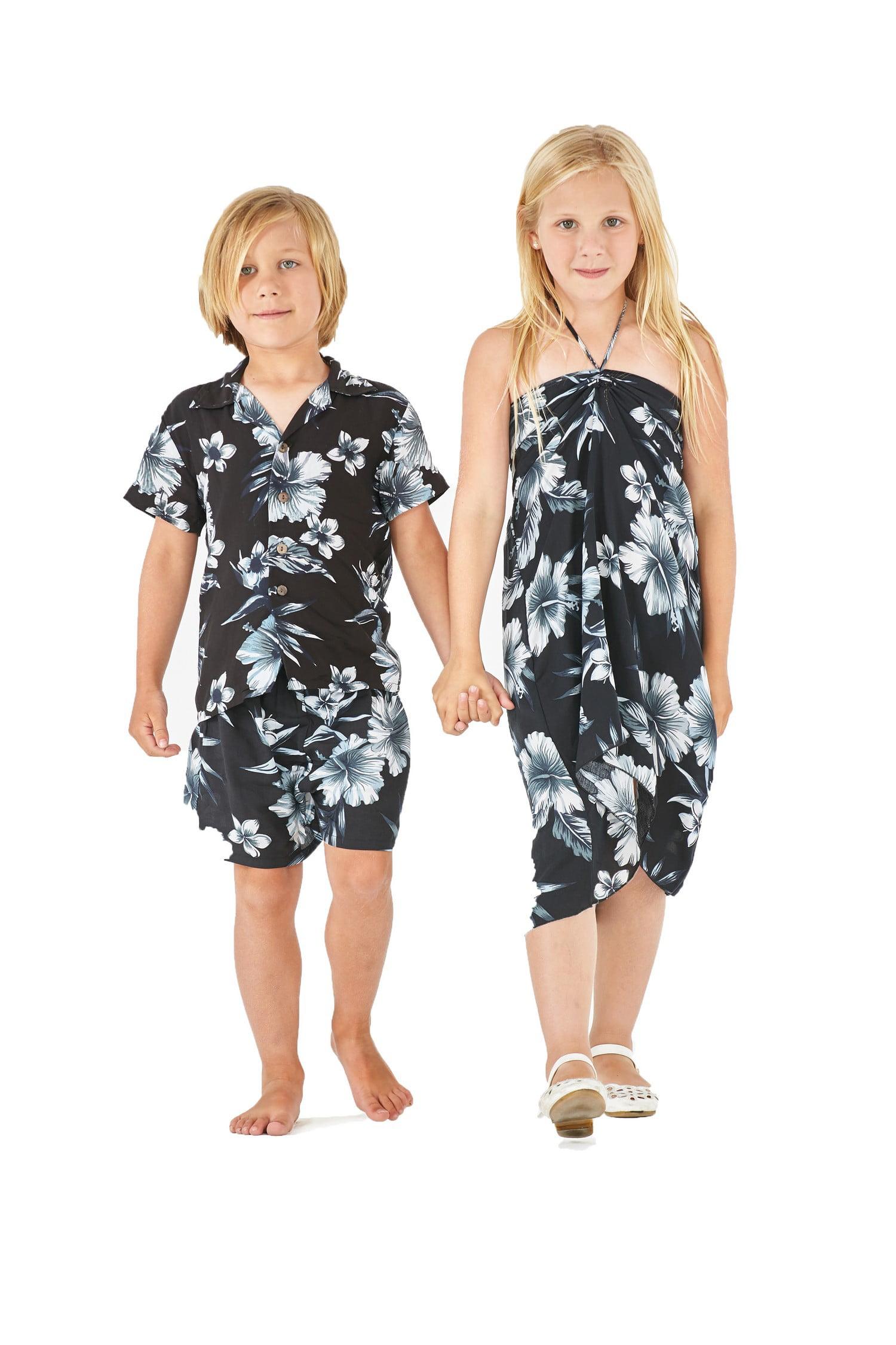 04cab08b44e6 Matching Boy and Girl Siblings Hawaiian Luau Outfits in Midnight ...