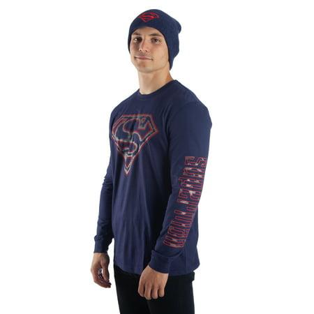 Dc Comics Superman Men's logo long sleeve navy tee and beanie 2-piece set