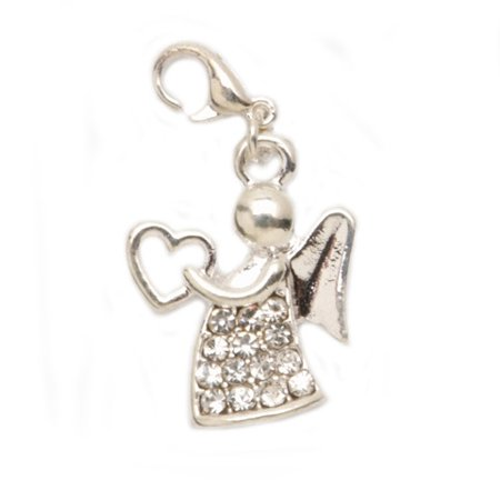 Angel Clasp Charm - Lobster Clasp Charm - Silver Angel - .625 X .8125 Inches