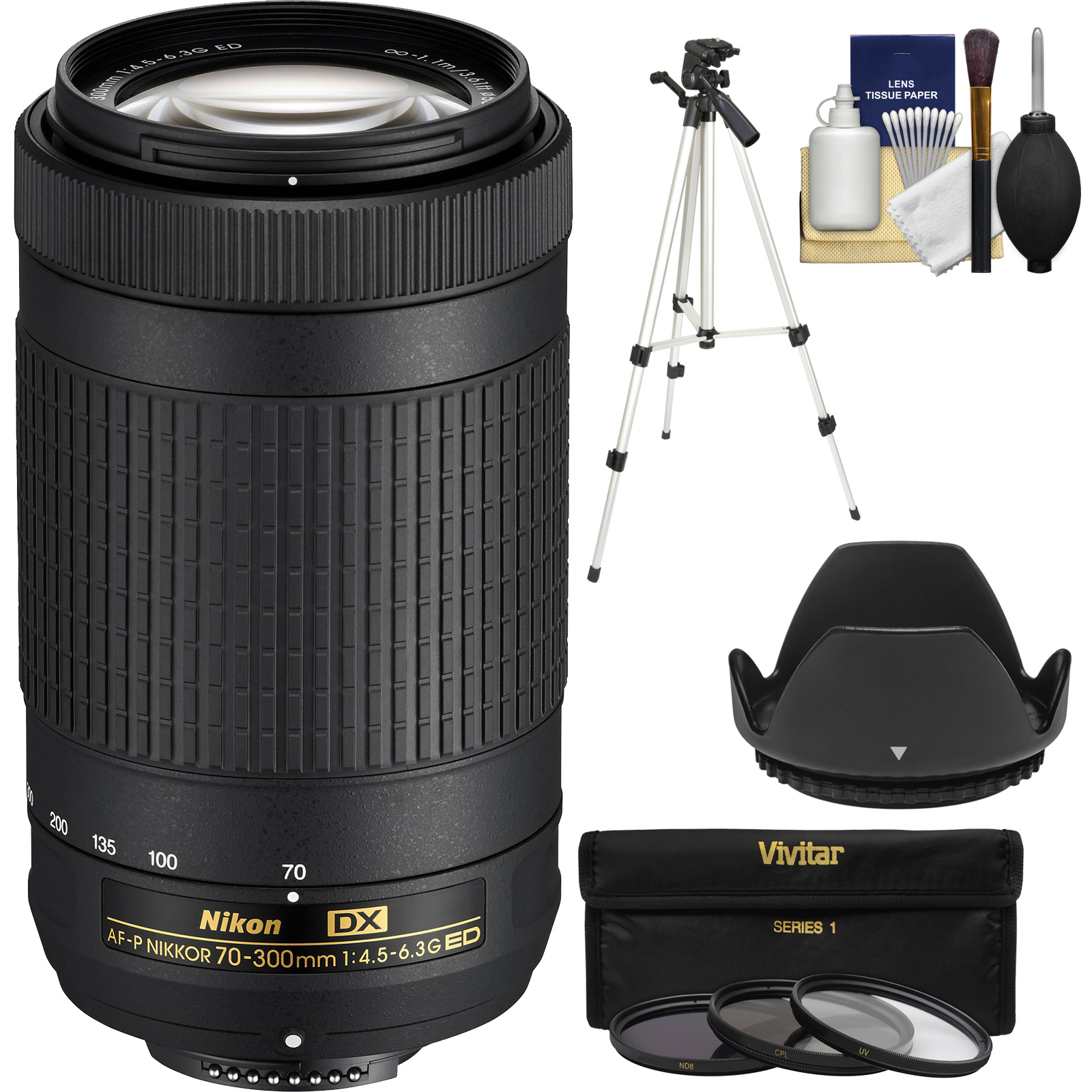 Nikon 70-300mm f/4.5-6.3G DX AF-P ED Zoom-Nikkor Lens - Factory Refurbished with 3 UV/CPL/ND8 Filters + Hood + Tripod + Kit