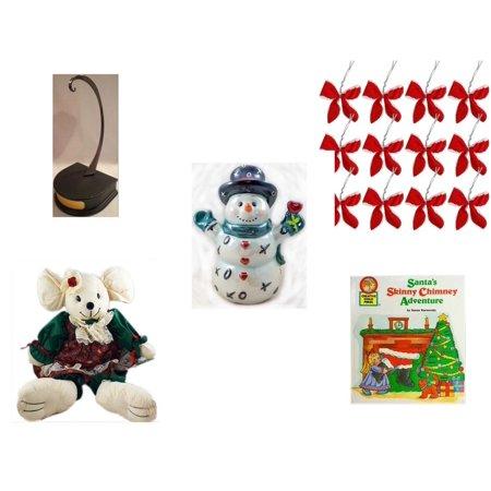 - Christmas Fun Gift Bundle [5 Piece] - Hallmark Ornament Display Holder QXG4802 - Set of 12 Red Velvet White Trim Wire Bows - Westland Giftware XOX Love Snowman Figurine 6