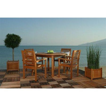 Milano Eucalyptus Round 5 Piece Patio Dining Room Set At Garden Sensation