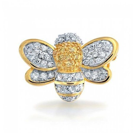 Two Tone Bumble Bee Yellow White Cubic Zirconia Pave CZ Brooch Pendant Gold Plated Rhodium Plated Brass