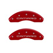 MGP 4 Caliper Covers Engraved Front Gen 4/Camaro Engraved Rear Gen 4/Z28 Red finish silver ch