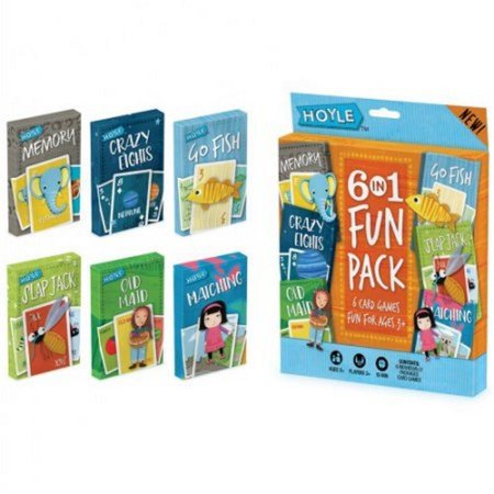 Cart Multi Pack - Hoyle 6 Pack Kids Playing Cards Games Go Fish Crazy 8s Old Maid Slapjack Bicycle