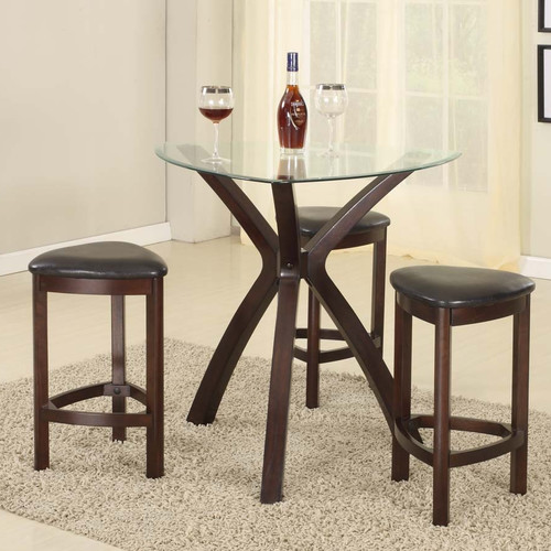 Roundhill Furniture 4-Piece Triangle Solid Wood Bar Table and Stools Set Espresso & Bar Table Sets