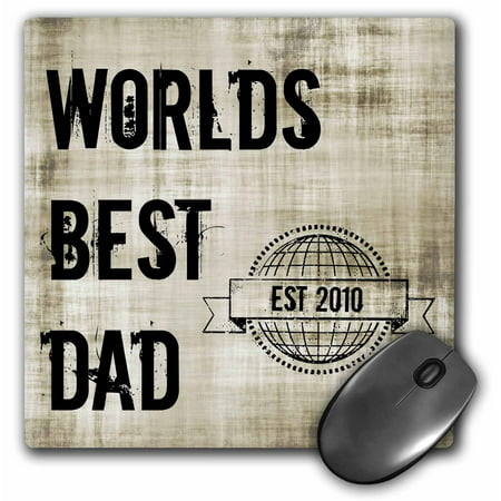 3dRose Worlds best dad - est 2010, Mouse Pad, 8 by 8 inches