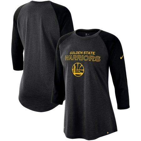 a3fbf82d95c2d Golden State Warriors Nike Women's Wordmark Logo Performance 3/4-Sleeve  Raglan T-Shirt - Charcoal/Black - Walmart.com