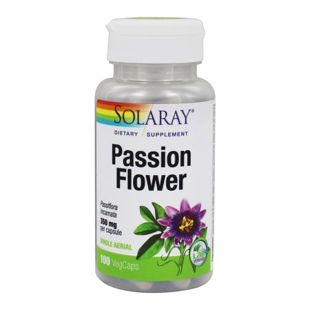 Solaray Passion Flower Aerial Extract 350mg | Healthy Relaxation & Focus Support | May Help Calm Mental Chatter & Restlessness | 100 VegCaps Passion Flower Medicinal