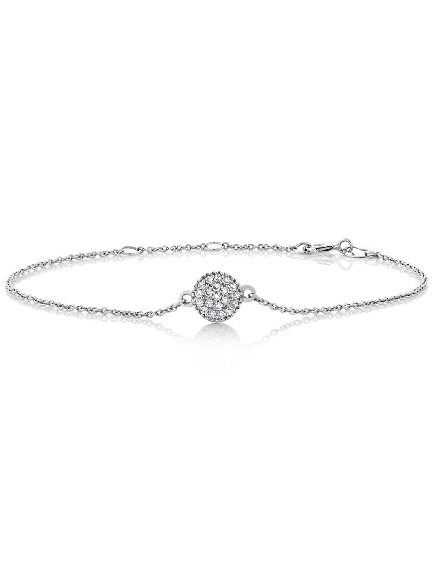10K Solid White Gold 0.10 cttw Diamond Pave Disc Bracelet 6""