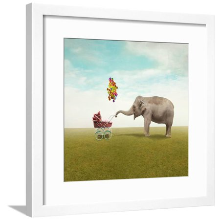 Funny Illustration with a Beautiful Elephant Leading Walking Her Child in a Wheelchair Framed Print Wall Art By Valentina Photos ()