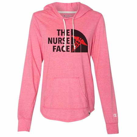 "Cute Women's Champion Hoodie ""The Nurse Face"" Light Weight Sweatshirt - North Face - Nurse Gift 2X-Large, Pink ()"