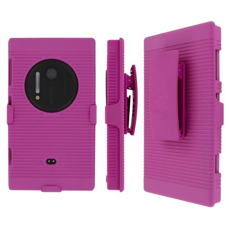 Nokia Lumia 1020 Belt Clip Case, MPERO Collection 3 in 1 Tough Hot Pink Kickstand Case for Nokia Lumia