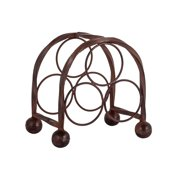 4 Bottle Domed Table Top Rustic Brown Iron Wine Rack With Circular Design For Wine Bottle Holders