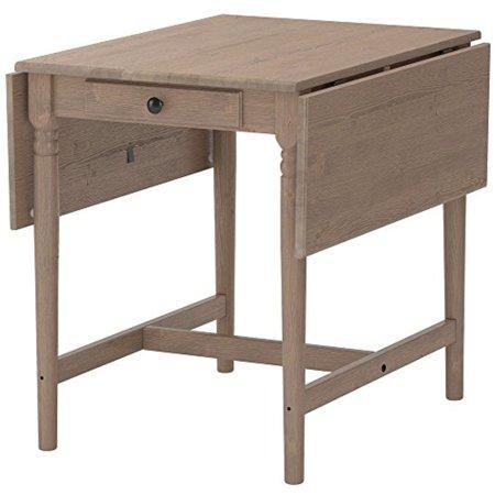 Drop Leaf Table Gray Brown Pine Wood Ikea Ingatorp with Drawer ...