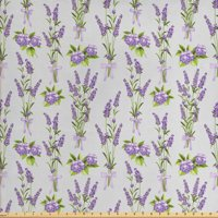 Garden Art Fabric by The Yard, Botanical Bouquets of Lavender and Hydrangea Flowers Bridal Spring, Decorative Fabric for Upholstery and Home Accents, by Ambesonne