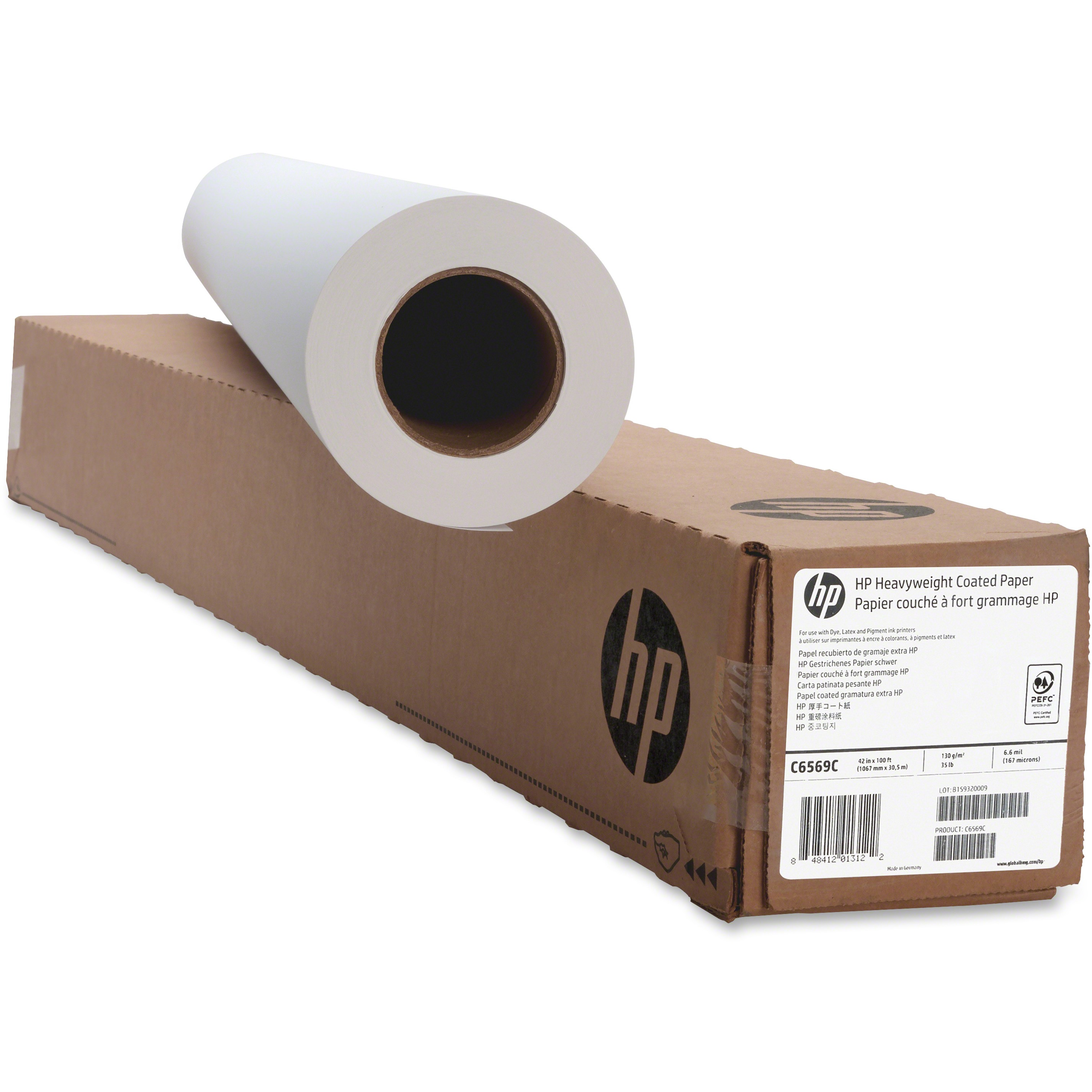 HP, HEWC6569C, Heavyweight Coated Paper, 1 Roll, Bright White