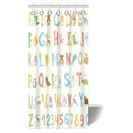 Mypop Cute Zoo For Girls Boys Kids Baby Educational Shower Curtain