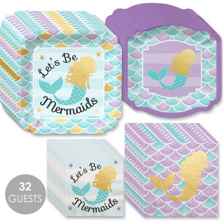Let's Be Mermaids with Gold Foil - Baby Shower or Birthday Party Tableware Plates and Napkins - Bundle for 32](Wedding Shower Plates And Napkins)